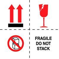 "#DL4501 4 x 4"" Fragile Do Not Stack (Boxes/Arrows/Broken Glass)"